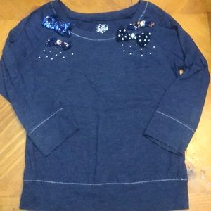 Justice Girls Blue w/ Applied bows and gems shirt